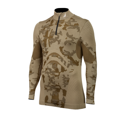 TECSO extra-powerful seamless thermo shirt  with long sleeves and a zipper for hunting, fishing etc.